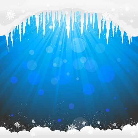 winter thaw: Winter background  with icicles. Copy space Illustration