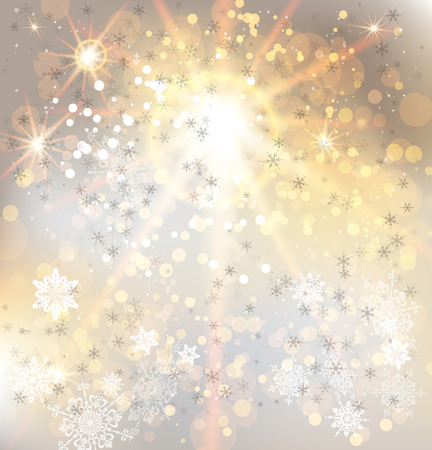 Golden light and snowflakes. Festive vector background. Vector