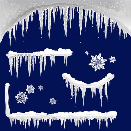 Set of icicle design elements