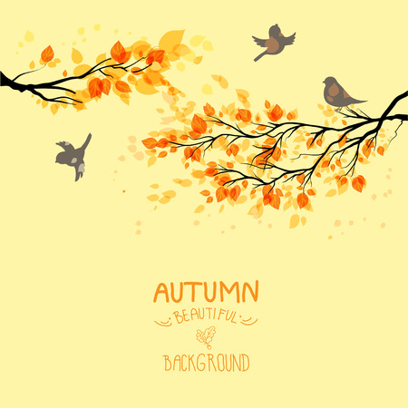 Branches with autumn leaves and birds on yellow background. Copy space