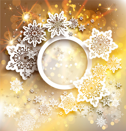 Gold holiday background with snowflakes design. Copy space Vector