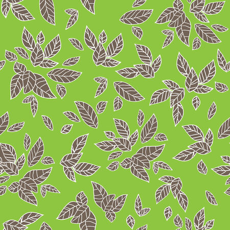 Leaves seamless pattern on green background. Vector