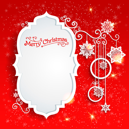 Christmas design on redbackground with place for text Stock Illustratie