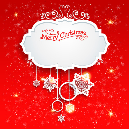festive season: Red festive card with christmas decoration. Copy space.