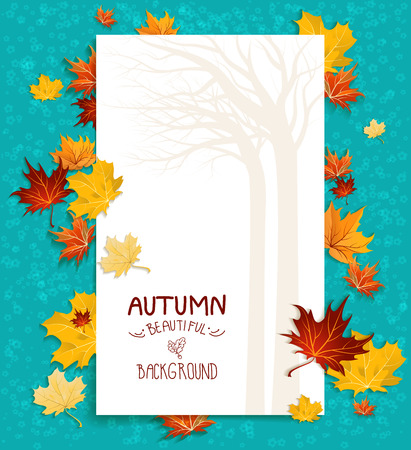 White blank with autumn maple leaves on green background
