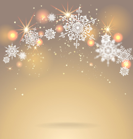 festive season: Shining snoweflakes on golden background. Holiday seasonal card. Illustration
