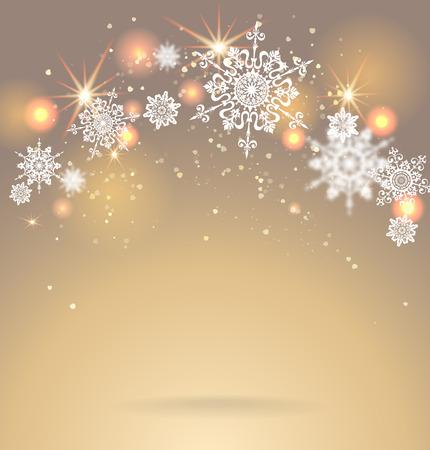 Shining snoweflakes on golden background. Holiday seasonal card. Stock Illustratie