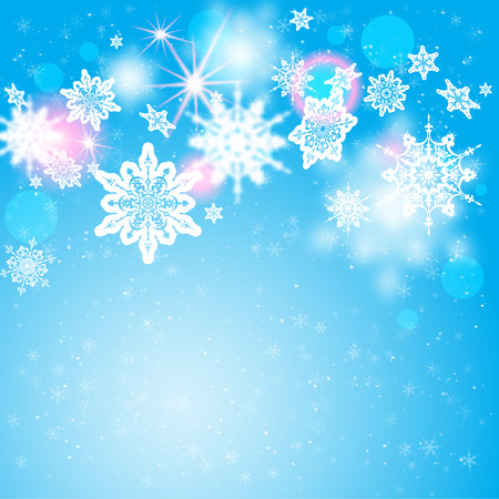 Snowflakes on blue backdrop. Holiday seasonal card