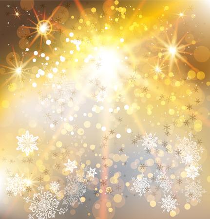 card background: Sfondo di vacanze invernali con la luce d'oro. Disegno vettoriale di Natale.