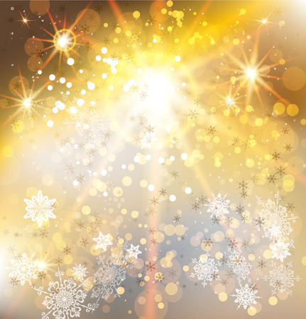 december holidays: Winter holiday background with gold light. Christmas vector design.