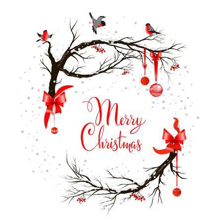 Holiday tła z ptaków na drzewie i świąteczne ozdoby.