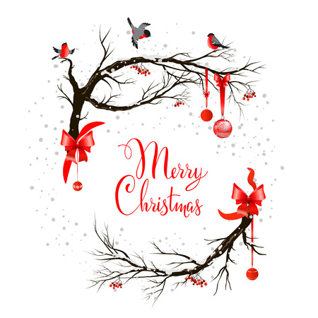 paesaggio: Priorità bassa di festa con gli uccelli su albero e decorazioni natalizie. Vettoriali