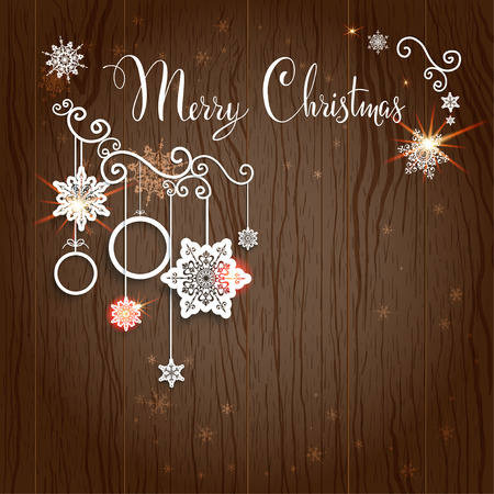 Merry Christmas lettering on wood backdrop. Vector design with place for text. Vector