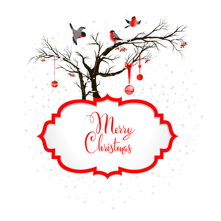 Winter holiday background with bullfinches and holiday decoration. Copy space