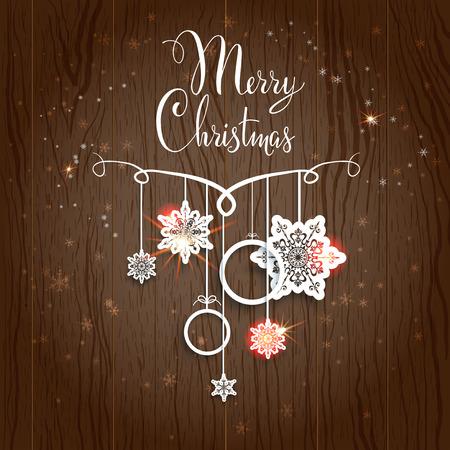 cold background: Disegno di Buon Natale sullo sfondo di legno