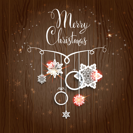 Merry Christmas design on wood background Vector