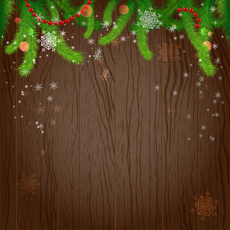 Holiday wood background and christmas tree. Christmas design with place for text Vector