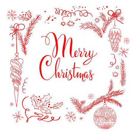 Merry Christmas lettering isolated on white background Ilustracja