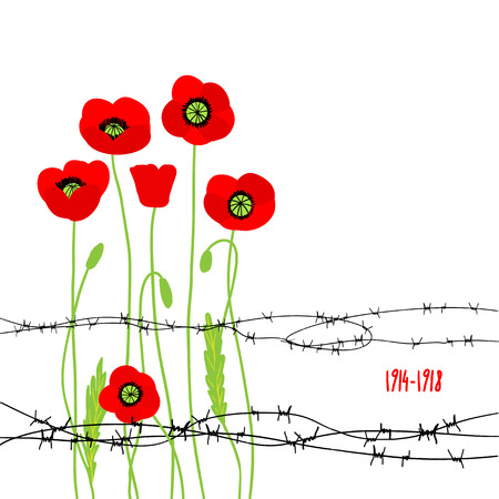 Card with poppies and barbed wire. Vector illustration with place for text. Vettoriali