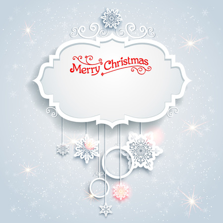 a holiday greeting: Christmas festive card with beautiful snowflakes. Place for text. Illustration