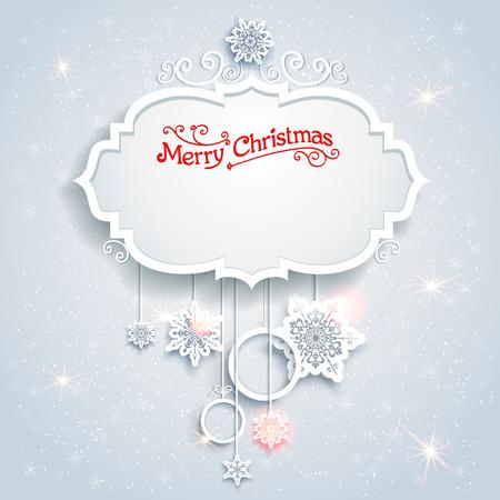 �white: Tarjeta de Navidad festiva con hermosos copos de nieve. Lugar para el texto. Vectores