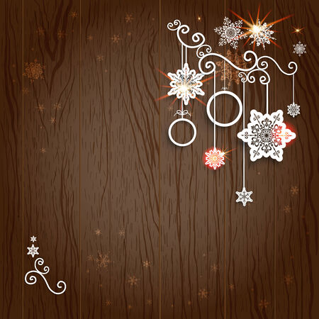 place for text: Christmas decoration on wood background with place for text. Illustration