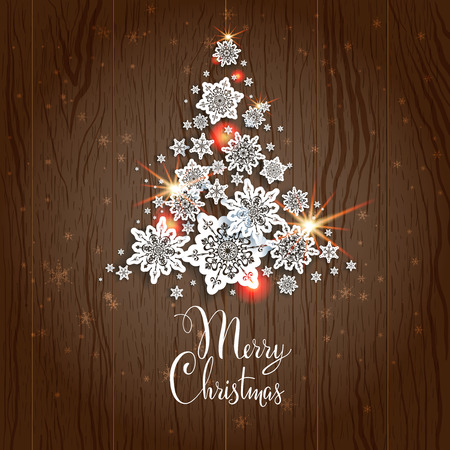 Christmas tree on wood background. Holiday decoration. Vector