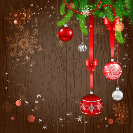 new: Festive christmas background with beautiful holiday balls and christmas tree. Copy space.