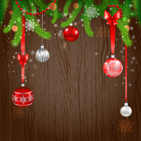 Merry Christmas design on wood background. Copy space. Vector