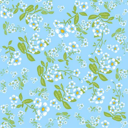Summer flowers on blue background. Seamless floral pattern. Illustration