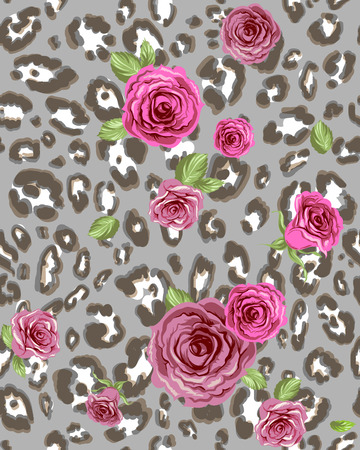 conceal: Animal skin pattern and roses. Seamless background.