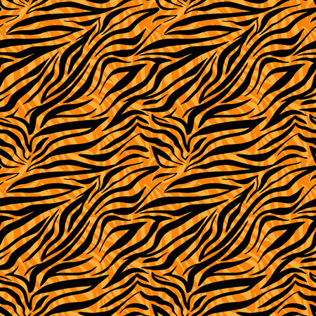 Fashion tiger seamless pattern. Animal background. Çizim
