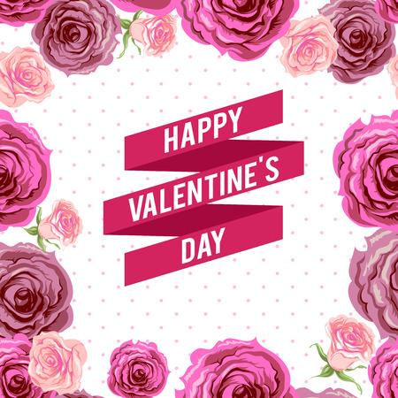 holiday background: Valentnes day ribbon and roses. Holiday background. Illustration