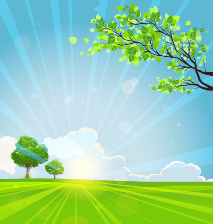 Summer background with trees and sunbeams. Copy space Stock Illustratie