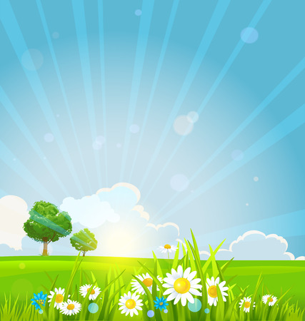 Beautiful summer sunrise with green grass, summer flowers and trees. Vector