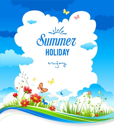 Cheerful positive summer background with green grass and flowers. Place for text. Ilustração