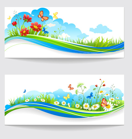 Cheerful summer banners with green grass and flowers