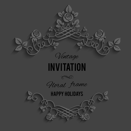 Elegant ornate floral frame on dark background. Illustration