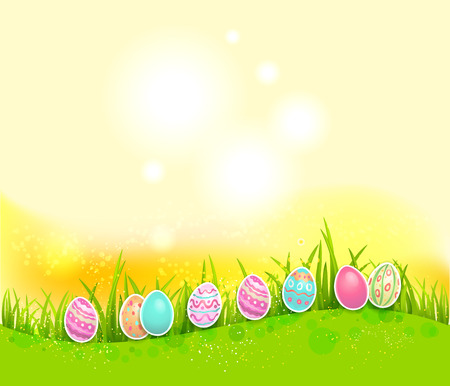 sunbeam background: Easter painted eggs on bright backgroundwith place for text.