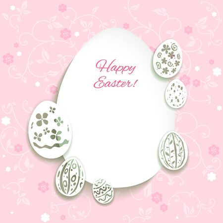 place for text: Easter card on pink background with place for text. Illustration