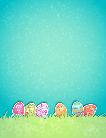 egg hunt: Easter painted egg on light pastel background with copy space. Illustration
