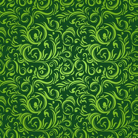 green carpet: Seamless pattern with stylized leaves. Ornamental background.
