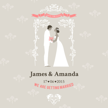 wedding reception decoration: Wedding invitation with bride and groom. Elegant vintage style.