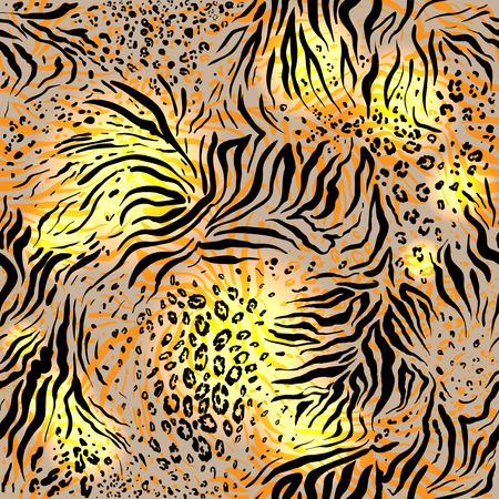 Mixed animal skin background. Seamless pattern Illustration