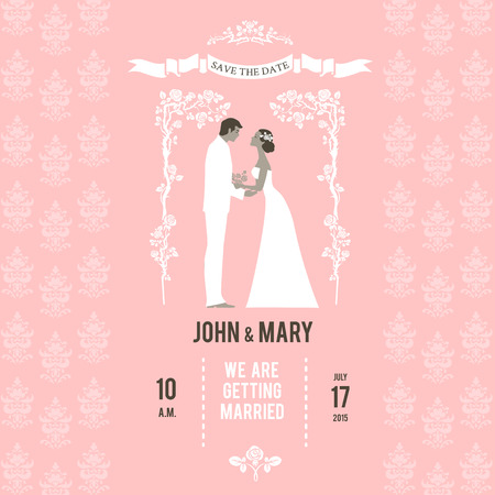 wedding reception decoration: Bride and groom on wedding invitation. Place for text