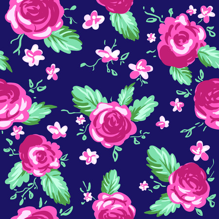soulful: Painted roses on blue background. Seamless vector pattern