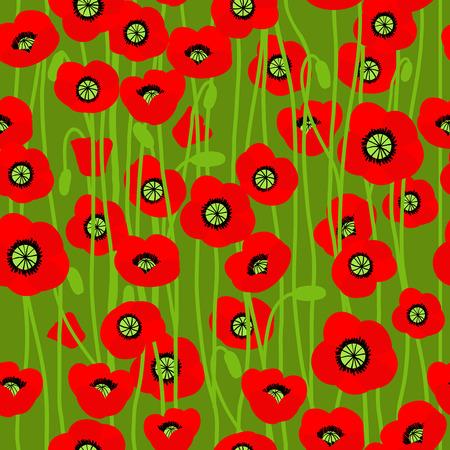 war decoration: Poppy on green background. Natural seamless pattern.