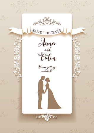 Elegant wedding invitation with bride and groom. Holiday design for leaflet, cards, invitation and so on. Place for text. 일러스트