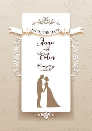 feier: Elegante Hochzeitseinladung mit Braut und Bräutigam. Feiertagsentwurf für Flugblatt, Karten, Einladung und so weiter. Platz für Text.