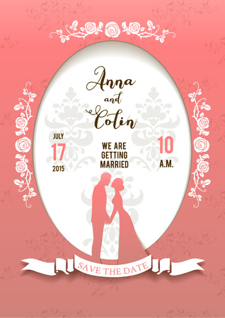 wedding reception decoration: Wedding beautiful card with bride and groom. Elegant wedding design for leaflet, cards, invitation and so on. Place for text. Illustration